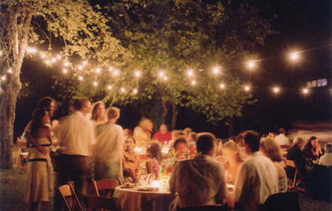 wedding event catering lights summer night bbq food happy people